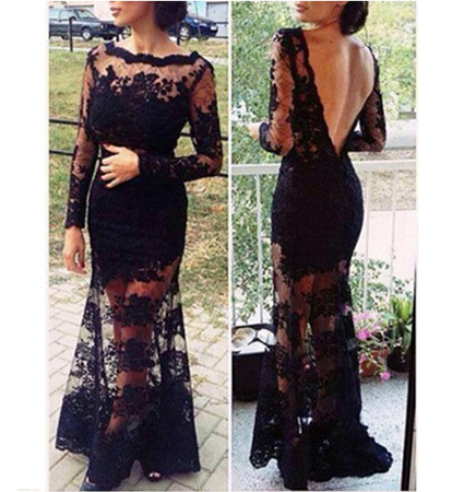 Maxi Evening Gown – Black / Lace / Long Sleeved