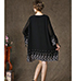 Loose Fitting Casual Chiffon Dress – Black / Embroidered Trim
