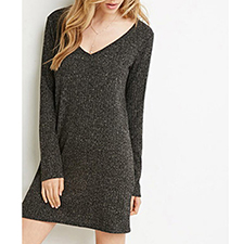 Black Sweater Shift Dress – Tempting in Tweed
