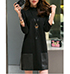Black Slimming Fit Mini Dress – Three Quarter Length Sleeves / Leather Accents