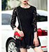 Stunning Black Lace Dress – Three Quarter Length Sleeves / Lace Overlay