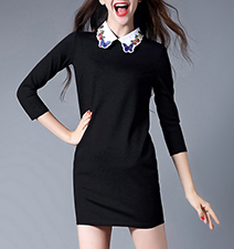 Black Casual Sweater Dress – Three Quarter Length Sleeves / Embellished Collar