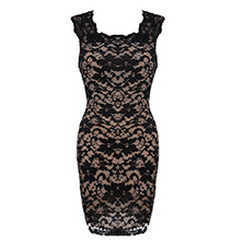 Sleeveless Lace Shell Dress – Black