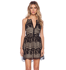 Eyelash Lace Dress – Mesh Inserts / Straight Neckline / Thin Straps / Cut Armholes