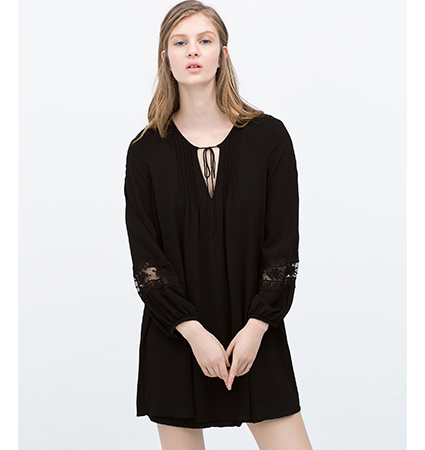 Black Lace Dress – Drawstring / Deep V Neck