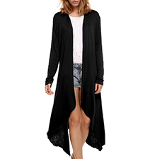 Womens Long Duster – Black / Long Sleeves / Asymmetrical Hemline