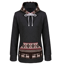 Womens Winter Hoodie – Black / Winter Print Trim