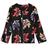 Womens Baseball Jacket – Black Background / Large Flower Print