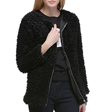 Womens Jacket – Black / Zip Front / Thick Textured Cotton