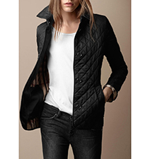 Womens Quilted Jacket – Black / Front Snaps