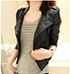 Womens Leather Moto Jacket – Solid Black / Metal Zipper