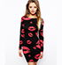 Bodycon Dress – Black with Red Lips / Rounded Neckline / Long Sleeves
