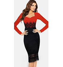 Bodycon Dress – Red Top / Black Skirt / Latino Look