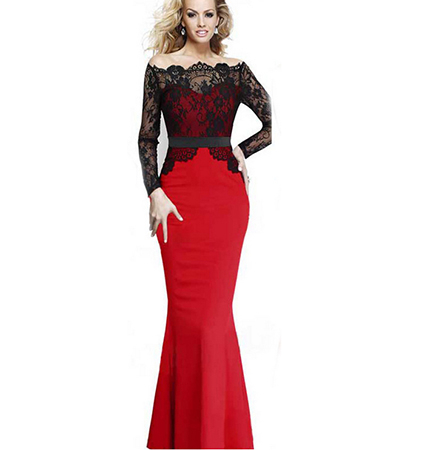 Lace Sleeves Maxi Dress – Ball gown / Red and Black