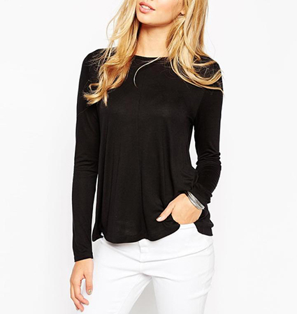 Womens Cotton Knit Top – Solid Black / Long Sleeves