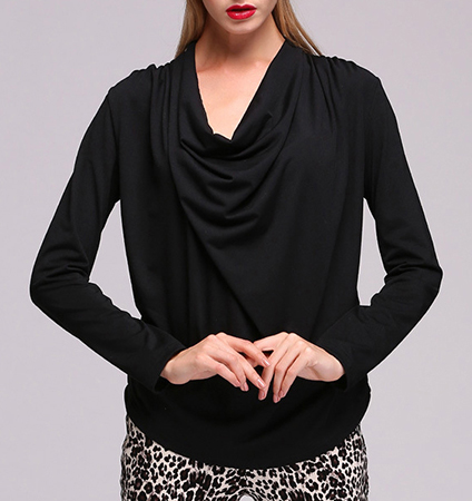 Womens Cowl Neck Shirt – Long Sleeves / Curved Hemline / Black / Knit Cotton