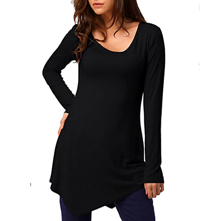 Womens Shirt – Scooped Neckline / Pointed Hemline / Long Sleeves / Black Fabric