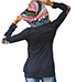Womens Cotton Knit Shirt – Hand Warmer / Black with Multicolored Trim