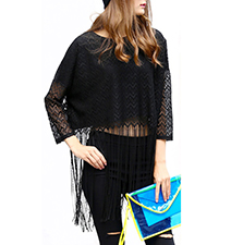 Womens Fringed Shirt – Solid Black / Semi Sheer Lace Overlay