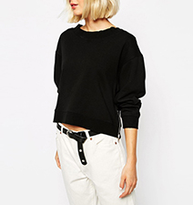 Womens Short Black Midriff Sweater – Long Sleeves / Zippered Side Accents