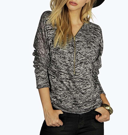 Womens Casual Jacket Pullover – Zippered Front / Three Quarter Length Sleeves