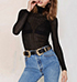 Womens Turtleneck – Solid Black / Semi Sheer