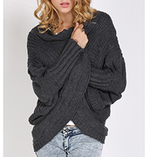Womens Crisscross Style Sweater – Black / Long Sleeves