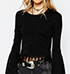 Womens Speckled Sweater – Black / Wide Long Sleeves / Fringed Hemline