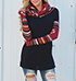 Womens Hooded Sweater – Black Body / Contrasting Red Long Sleeves