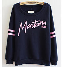 Womens Comfortable Sweatshirt – Pink Stripes / Montana Script