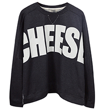Womens Short Sweatshirt – Black / Cheese Logo