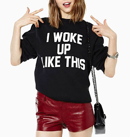 Womens Whimsical Sweatshirt – Black / I Woke Up Like This