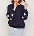 Womens Sweatshirt – Lantern Style Sleeve / Crew Neck / Narrow Ribbed Cuffs and Hem