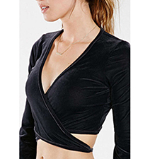 Womens Black Sensational Surplice Top