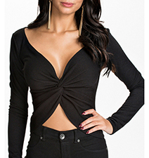 Womens Black Crop Top – Long Sleeves / Deep Neckline