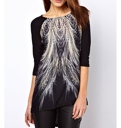 Womens Tunic Top – Black / White Feather Logo