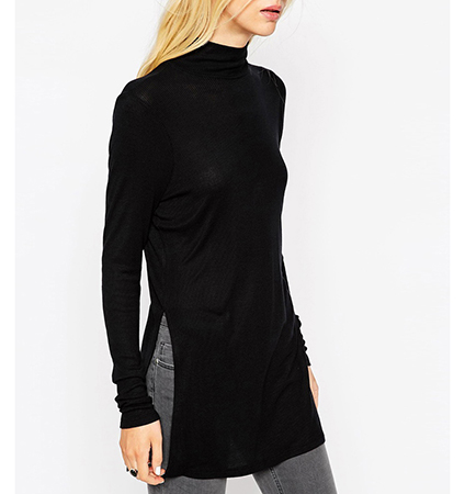 Womens Turtleneck Tunic Top – Solid Black / Side Slits