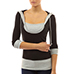 Womens Casual Knit Top – Black / Gray Trim