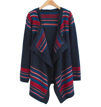 Womens Wrap – Southwestern Style / Blue with Multicolored Stripes