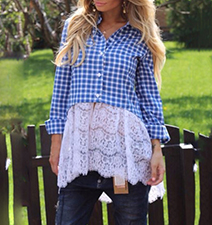 Womens Checked Blouse – Blue and White / Button Front Placket / Wide Lace Bottom