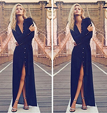 Maxi Dress – Navy Blue / V Neck Cut / Slit In Legs