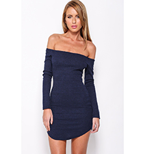 Off The Shoulder Sweater Dress – Navy Blue