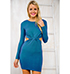 Blue Colored Dress – Rounded Neckline / Cut Out Waist Options