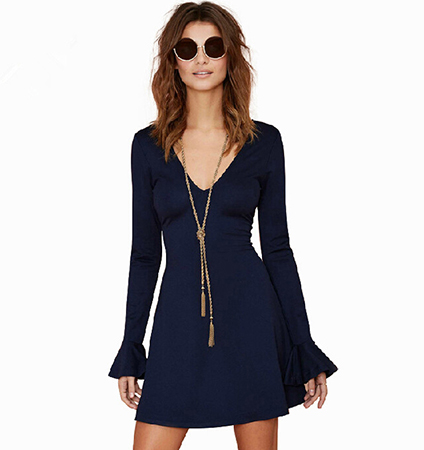 Navy Blue Dress – V Neck Cut Out / Flared Skirt Area