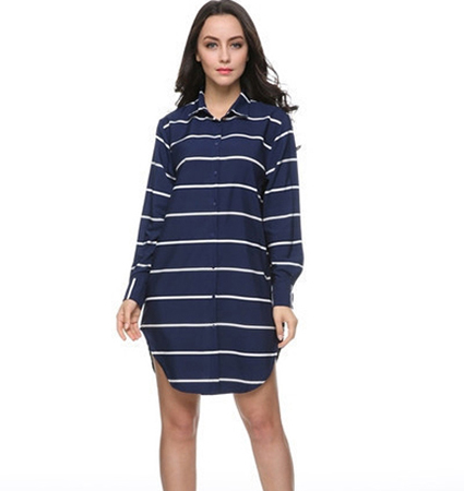 Stripy Shirt Dress – Navy Blue and White / Rounded Hemline