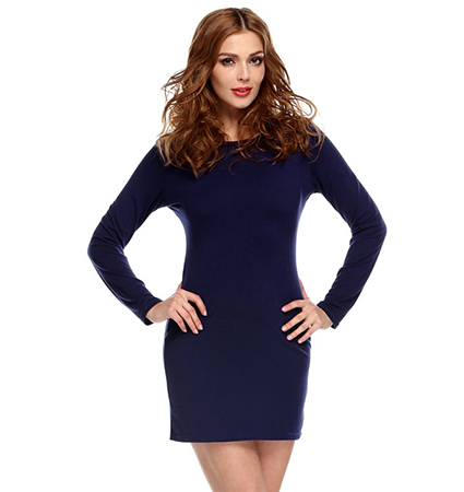 Fitted Bodycon Dress – Royal Blue / Long Sleeves / Thigh Length