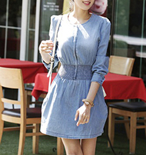 Fit and Flared Denim Dress – Long Sleeves / Rounded Neckline