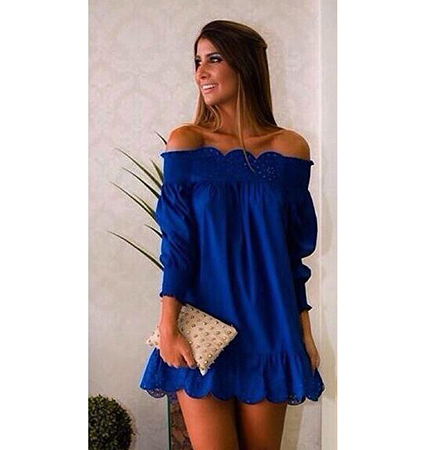 Off The Shoulder Blue Dress – Short Length / Ruffled Hemline