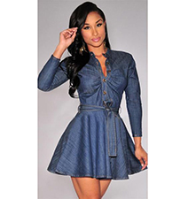 Fit and Flare Denim Dress – V Neck / Belted Waistline