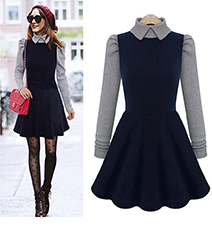 Fit and Flare Dress – Royal Blue and Gray Color / Long Sleeves